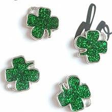 Breloques trèfle vert en alliage de Zinc artisanal, accessoires de décoration faits à la main pour filles, pendentifs de bricolage, fabrication de bijoux, cadeau, 12x14mm, 10 pièces/lot