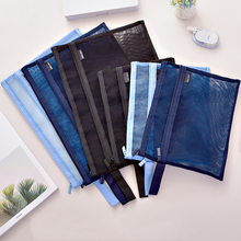 купить A4 A5 Double Pocket Pencil Case Nylon Mesh Document File Zipper Bag Large Capacity Storage Pouch School Office Supplies 1pc по цене 232.81 рублей