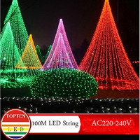 Novidade 600 leds 100 m iluminação da corda pisca para exterior/interior festa de casamento árvore natal cintilação fadas decoração luzes