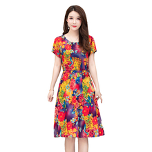 Summer womens cotton and linen dress new thin section loose floral woman Plus Size S-4XL