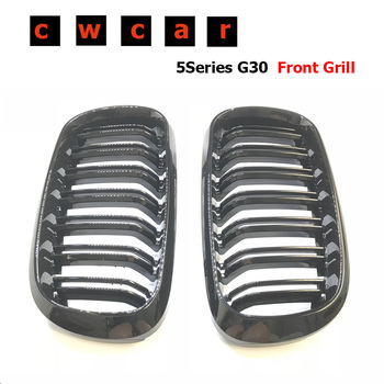 X5 F15/X6 F16 ABS Front Grille For BMW F15 F16 Bumper Kidney 2-FIN Gloss Black 2015+ image