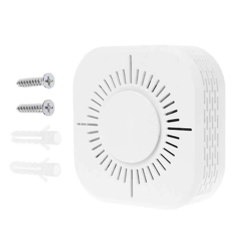 White Smart Wireless WIFI Smoke Detector Fire Alarm Temperature Sensor for Home Security Remote Control Gadgets