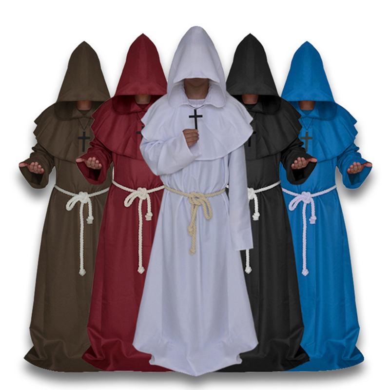Medieval Costume Men Women Vintage Renaissance Monk Cosplay Cowl Friar Priest Hooded Robe Rope Cloak Cape Clothing