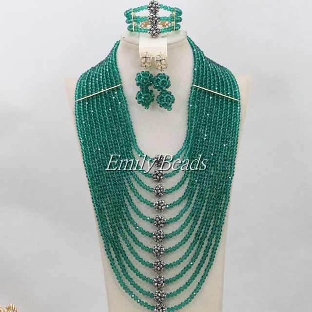 Hesiod Indian Wedding Jewelry Sets Gold Color Full Crystal: Teal Green African Crystal Beads Necklace Jewelry Set