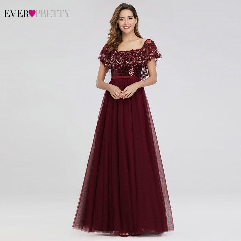 Robes de bal de luxe femmes bordeaux robes de soirée a-ligne hors de l'épaule volants gland Sexy paillettes robes formelles Gala Jurken