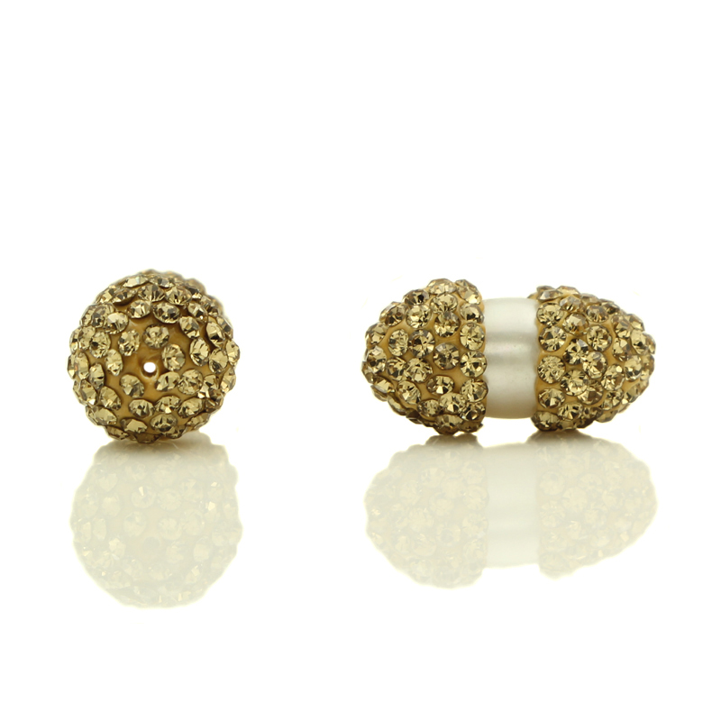 Wholesale 10pcs White Fresh Water Pearl Centre Clay Pave Rhinestone Crystal Connectors Beads For Making DIY Jewelry Accessories