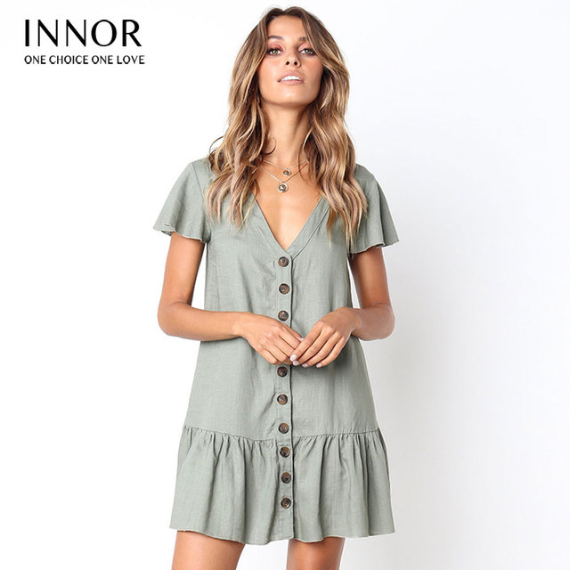 cbc40f2232c 2018 Women s Fashion Summer Short Sleeve V Neck Button Down Swing Midi Dress  with Pockets Beach Summer Dress innor 397