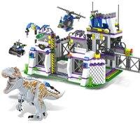 8000 Jurassic World Park Dinosaurs Base Tyrannosaurus Escape Building Blocks Bricks Toys For Chirdren Christmas Gift