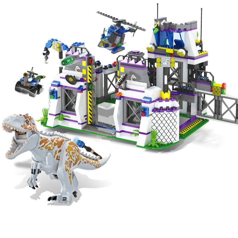 8000 Jurassic World Park Dinosaurs Base Tyrannosaurus Escape Building Blocks Bricks Toys For Chirdren Christmas Gift Legoings 2 sets jurassic world tyrannosaurus building blocks jurrassic dinosaur figures bricks compatible legoinglys zoo toy for kids