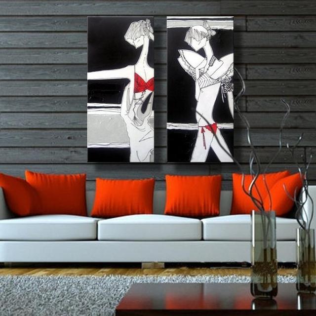 big size beste 2 leinwand wandkunst 100 handgemachte lgemlde moderne abstrakte sexy mdchen krper fr - Beste Wohnzimmer Wandkunst