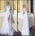 High Quality High Neck Lace Long Sleeve Princess Weding Dress Sexy Sheer Slit 2016 Vestido De Noiva Beach Custom Bridal Dress