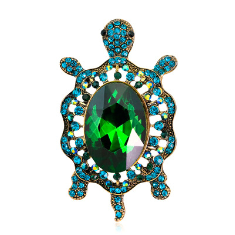 2 Colors Cute Turtle Model Brooches Metal Crystal Animal Brooch Pin For Women Men Clothes Hats Decoration Fashion Brooch Jewelry in Brooches from Jewelry Accessories