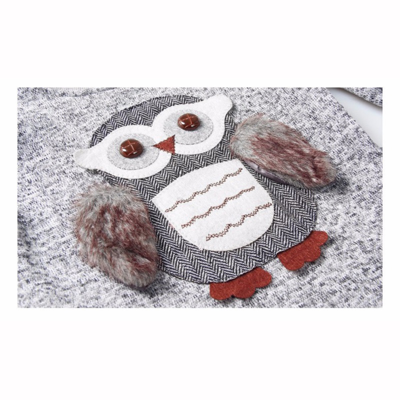 Girls Fleece Lined Zipper sweater Cartoon Cute Owl Casual Cotton Girls Winter Clothes girls sweater for