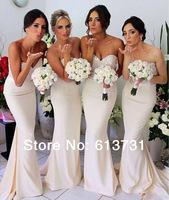 vestido de madrinha 2014 Modern Sweetheart Sequined Top Mermaid Satin Long Bridesmaid Dresses Free Shipping