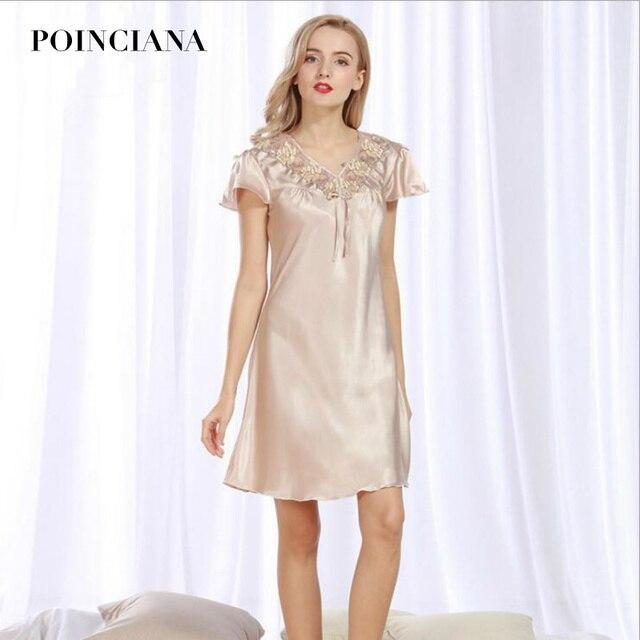 Short Sleeve Satin Nightgowns Sexy Lingerie Chemise Night Gown Sleepwear  Clothing For Women Sleep Ladies Nighties Elegant New b113afaec
