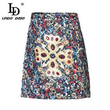 LD LINDA DELLA Summer Short Skirts Women's Luxury Crystal Diamonds Vintage Printed Mini Skirt - DISCOUNT ITEM  20% OFF All Category