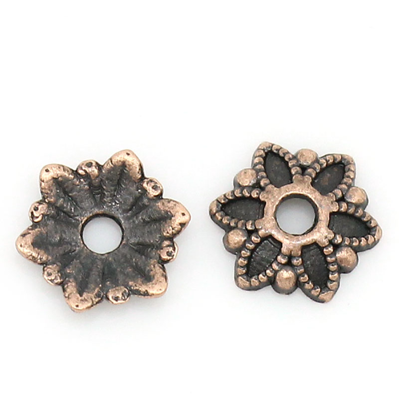 DoreenBeads Zinc metal alloy Beads Caps Flower Antique Copper (Fits 18.0mm Beads) 7.0mm( 2/8