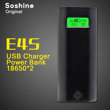Original Soshine E4S 2 Slot 18650 Li-ion Battery USB Smart Battery Charger Cell Phone Power Bank with LCD display Colour Black