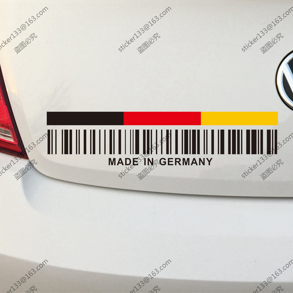 UPC Barcode Made In Germany German Flag Funny Car Truck Decal Sticker Vinyl Die Cut no background,choose your size.