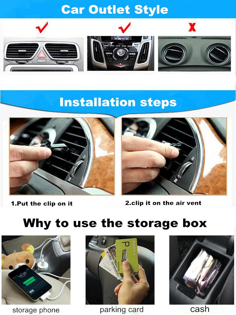 Quality Rhinestones Crown Air Vent Storage Holder Box