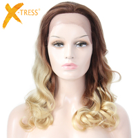 X TRESS короткие свободные волна человеческих волос Синтетические волосы на кружеве парики Ombre коричневый блондин 613 Цвет Бесплатная Часть Пар