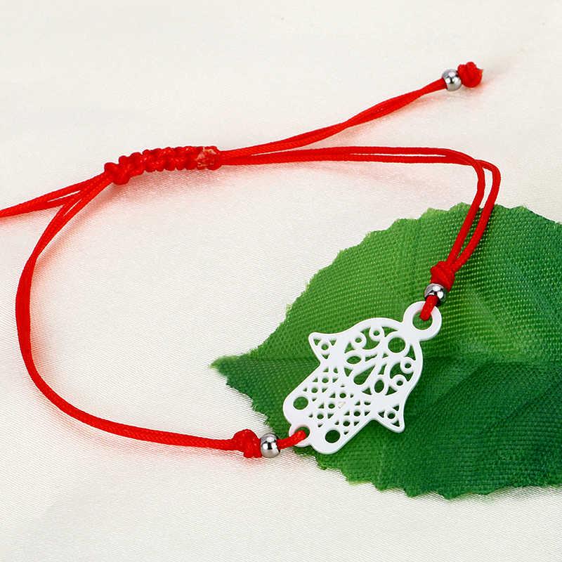 100 Pcs/lot Hot Lucky Kabbalah Merah Benang Gelang Harga Yang Menakjubkan Keramik Pesona Wanita Buatan Tangan Fatima Persahabatan Perhiasan