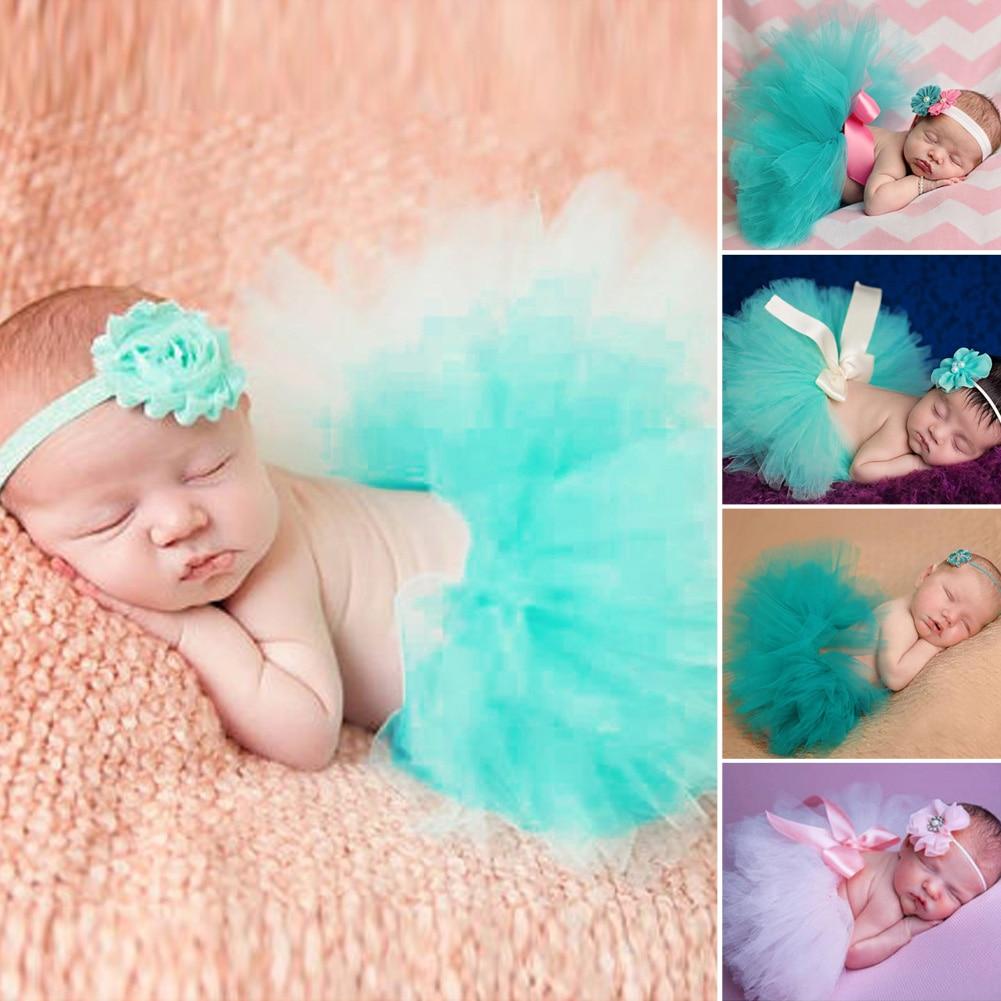 2pcs Newborn Photography Props Infant Costume Outfit Cute Princess Skirt Handmade Crochet Flower Headband Baby Girl Skirt Set
