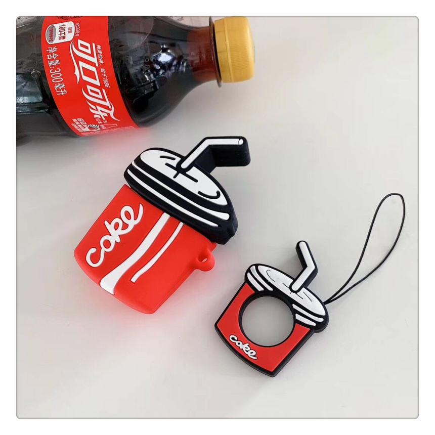 Image 5 - Bluetooth Wireless Earphone Air Pods 2 Silicone Cases For Apple Airpods Cute Coca Cola Protective Cover with Finger Ring Strap-in Earphone Accessories from Consumer Electronics