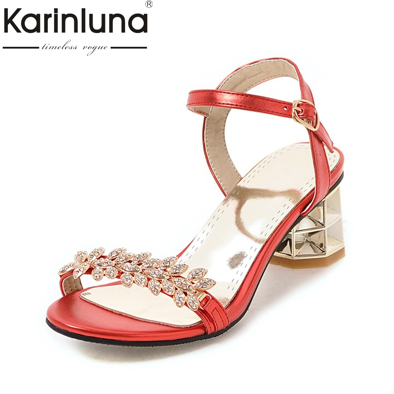 Karinluna Big Size 34-43 Customized Crystals Ankle Strap Summer Shoes Women Sandals Fashion High Heels Date Footwear Woman Shoes rousmery 2017 ankle wrap rhinestone high heel sandals woman abnormal jeweled heels gladiator sandals women big size 43