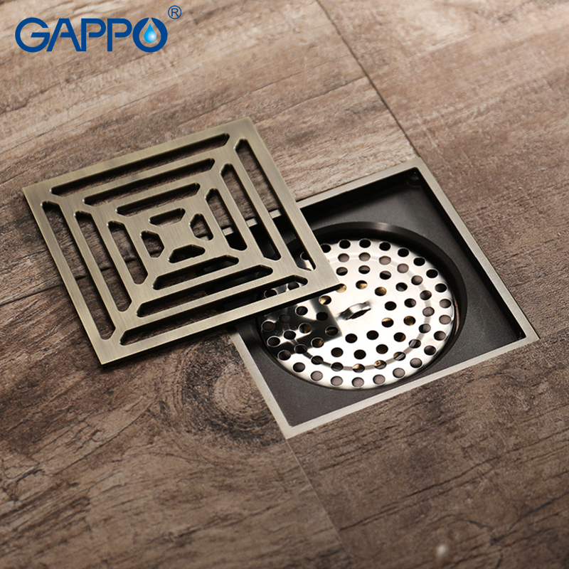 GAPPO Drains square bathroom shower floor drain waste drainer bath shower drain strainer bathroom floor cover sea sky bath shower curtain floor rug 2pcs set