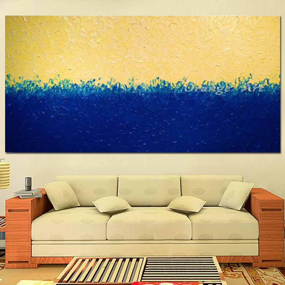 Large Hand Painted Abstract Yellow Blue Oil Painting On Canvas ...