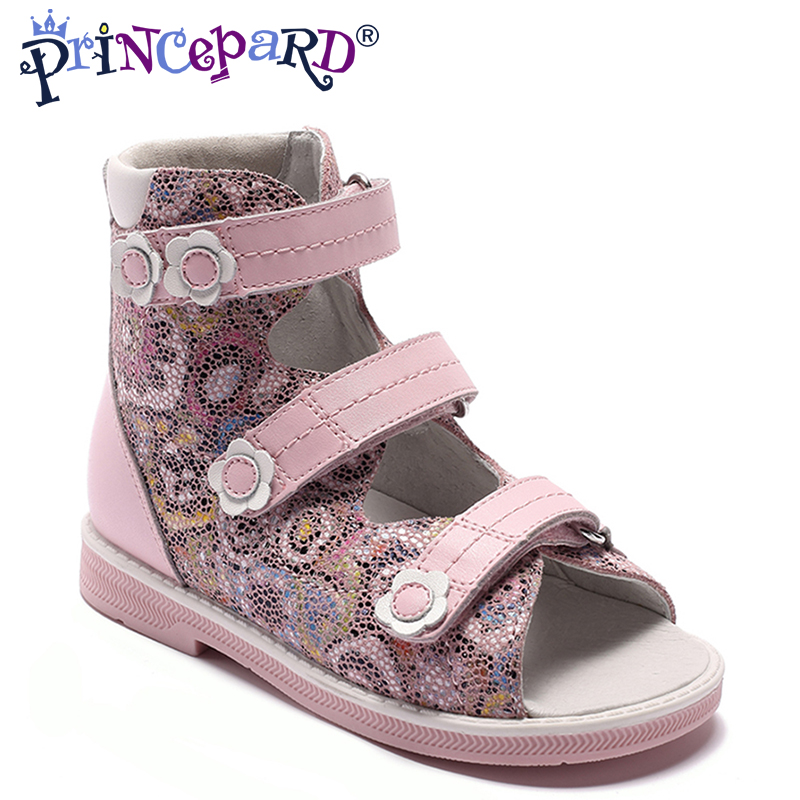 Princepard 2018 HOT SALE genuine embossed leather Girl Children Sandals Orthopedic shoes Summer Kids childs princess Shoes