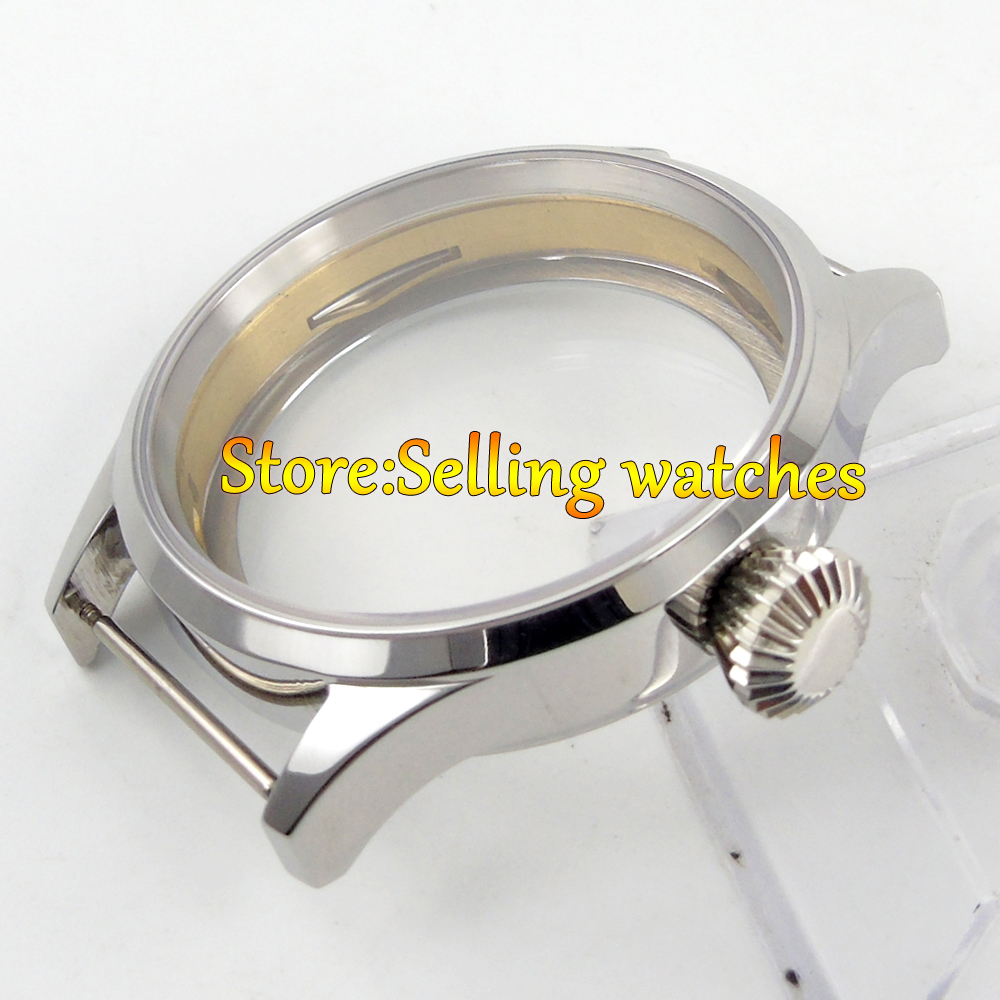Polisehd 43mm sterile Watch CASE sapphire glass fit eat 6498 6497 movement все цены