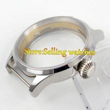 Polisehd 43mm CAJA de Reloj de cristal de zafiro fit comer estéril suizo 6498 movimiento 6497