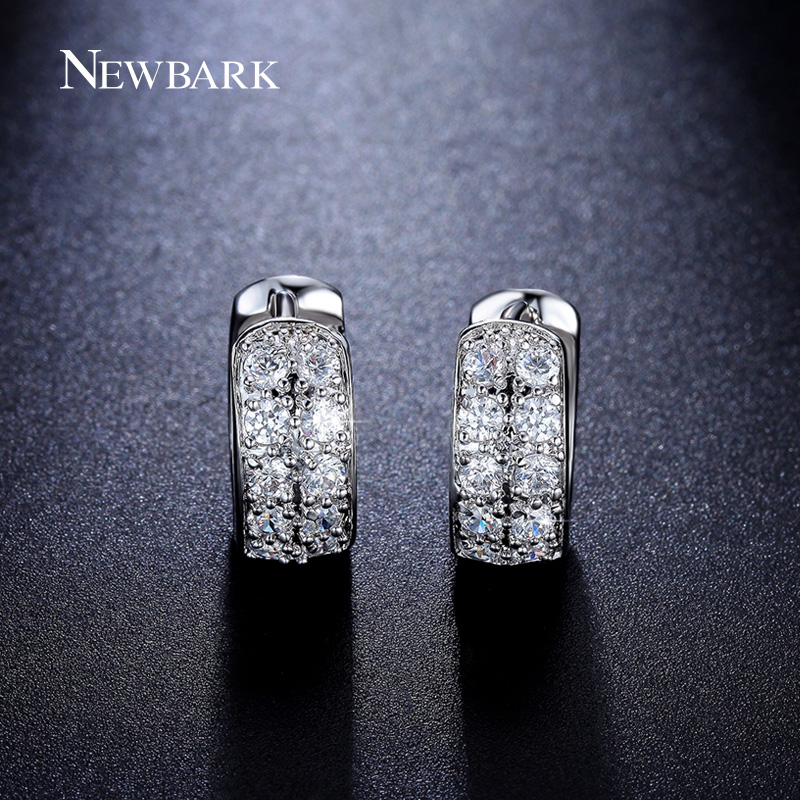 Newbark Small Hoop Earrings Wide 6mm Loop Round Shaped With 10pcs Brincos Tiny Cz Paved Wedding Huggie Jewelry For Women In From