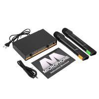 Professional VHF Dual Wireless Microphone System Set with 2 Mic 1 Receiver for Karaoke Singing KTV Stage Conference Computer