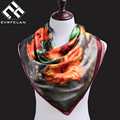 90*90cm Silk Scarf For Women Square Shawl Female Muslim Scarf And Shawl Printed Women Scarf Silk Foulard Bandana Drop Shipping