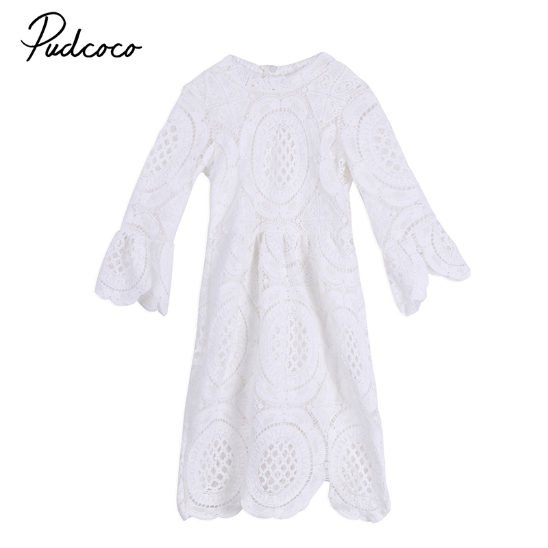 2-7Y Princess Children Girls White Lace Dress Brand New Long Sleeve Toddler Kids Elegant Party Dresses One Pieces Clothing acthink 2017 new girls formal solid lace dress shirt brand princess style long sleeve t shirts for girls children clothing mc029