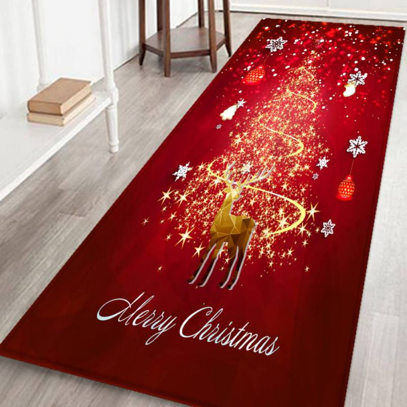 Christmas Soft Flannel Rug Mat Anti Slip Xmas Pattern Area Rubber Backing Small Carpet For Bathroom Kitchen Decoration Shaw