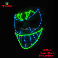 Newest Trendy masquerade glowing EL wire Mask bat face Mask LED Neon Glowing Party Halloween Supplies+3V Sound Activated Driver