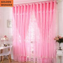 Korean Style Finished Bedroom Curtain Pink Purple Princess Curtains For Living Room Tulle Door Chinese Lace