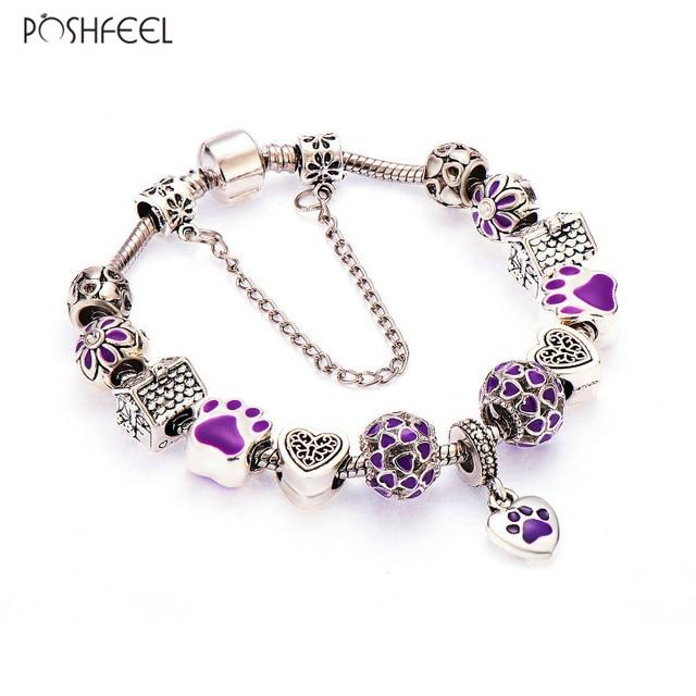 Poshfeel Purple Dog Charm Bracelets For Women Diy Snake Chain Bangles Mbr170102