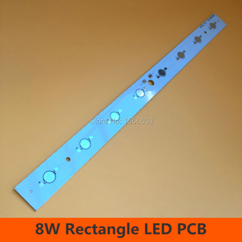 30 Pcs 8W Rectangle High power Chip PCB Plate Board Aluminum Heatsink for LED Aquarium Light Grow Bar Lamp Plate 280*20mm