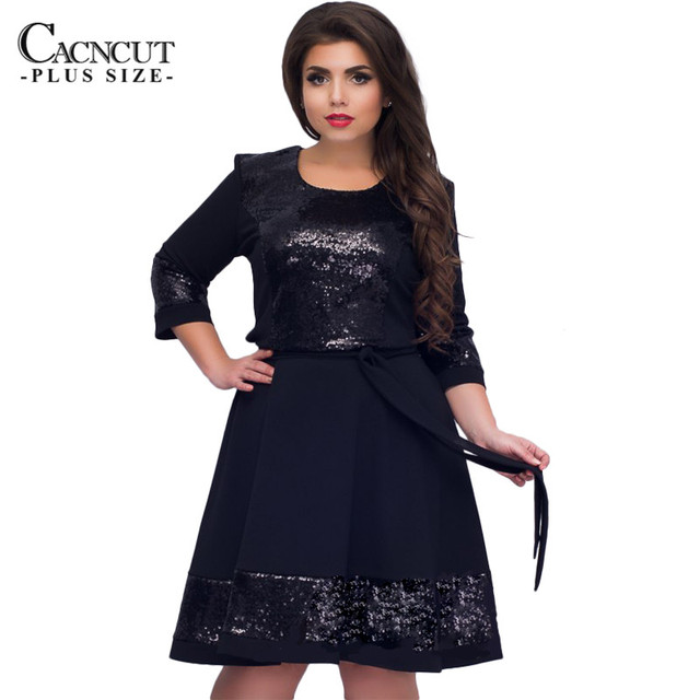 be687a44766b4 Ladies Big Size Sequined Dress 2018 Spring New Women 6XL Plus Size Office  Patchwork Dress Large Size Elegant A-line Party Dress