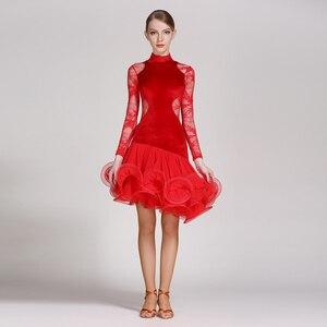 Image 4 - Rot spitze latin dance kleid fringe frauen latin kleid tanzen kleidung Dancewear latina salsa kleider für tanzen samba tango