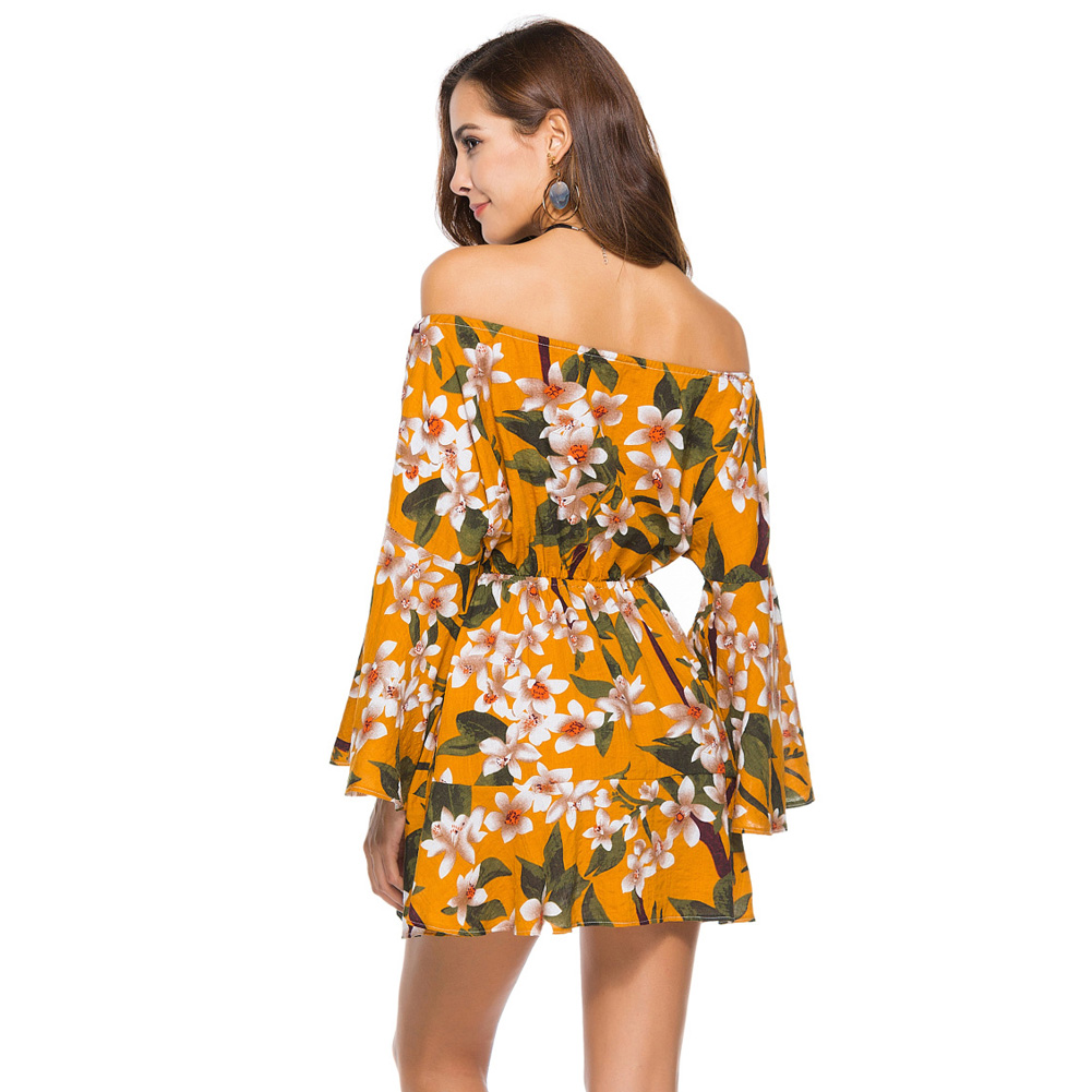 bb9294f4f3ab06 Lace Up Floral Print Short Dress Women Long Sleeve Off Shoulder Loose  Dresses 2018 Spring Summer Dress Female Streetwear-in Dresses from Women s  Clothing ...