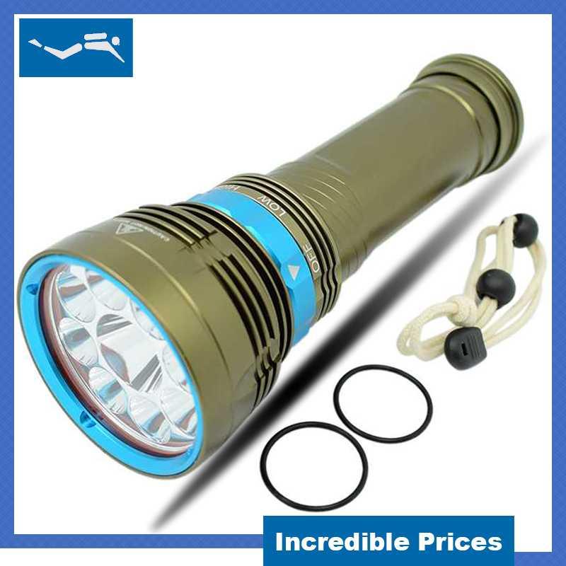 Ultra Lumineux Puissant Plongée lampe de Poche 9x L2 LED Plongée Torche Lumière 18000lm 3 Modes Sous-Marine Étanche Plongée lampes de Poche