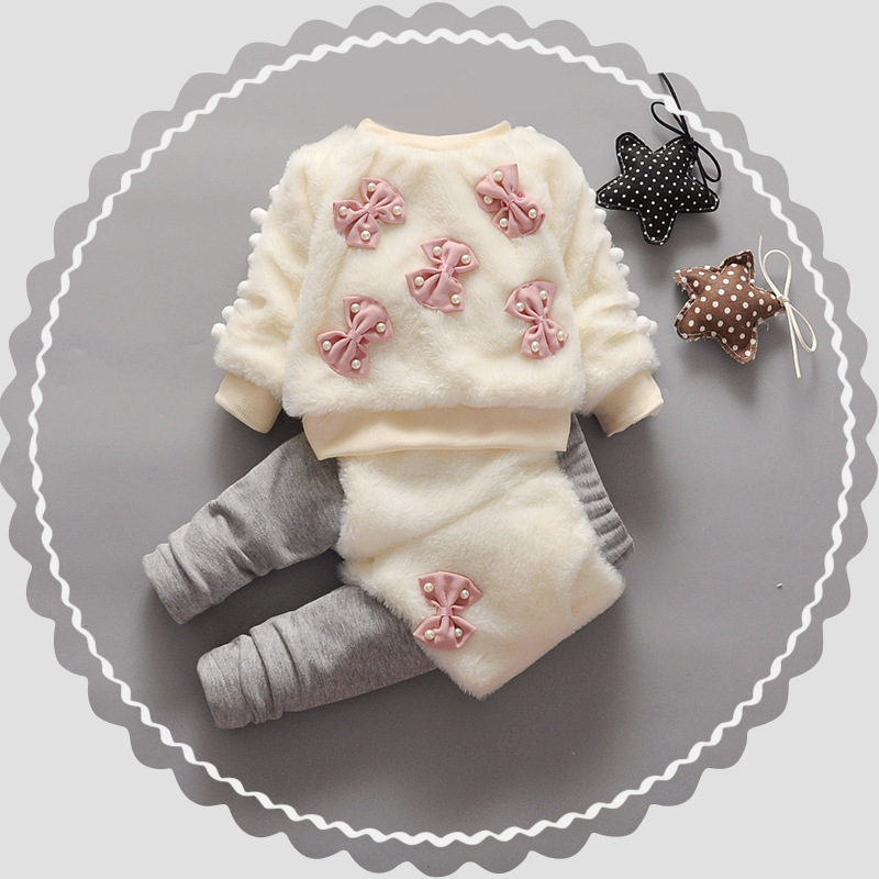 Warm Winter Children Kids Baby Infant Girls Thicken Velvet Faux Fur Bow Pullover Sweater Top+Pant Legging Clothing Sets S4286 autumn winter girls children sets clothing long sleeve o neck pullover cartoon dog sweater short pant suit sets for cute girls