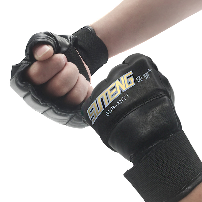 1 Pair PU Leather Half Mitts Mitten MMA Muay Thai Training Punching Sparring Boxing Gloves Golden/White/Red gloves boxing gloves bessky® cool mma muay thai training punching bag half mitts sparring boxing gloves gym