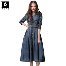 1e1830ce24a High Quality Vintage Belt Embroidery Dress Women Half sleeve V Neck A Line  Denim Dress Spring Autumn Women Button Shirt Dresses
